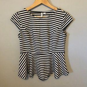 ELLE Black and White Striped Peplum Top Sz S